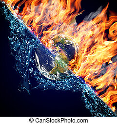 Globe in Feuer und Wasser
