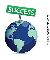 Globe mit einem Erfolgsschild