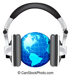 Globe mit Kopfhörern
