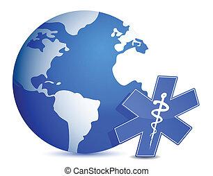 Globe mit medizinischem Symbol