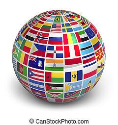 Globe mit Weltflaggen