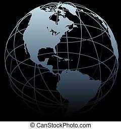 Globe symbolisiert Erdlängenlänge 3D-Karte auf Schwarz