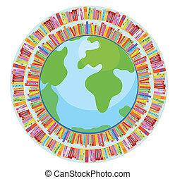 Globe und Buchbildungskonzept Illustration