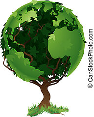Globe-Weltbaum-Konzept