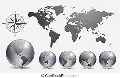 Globes mit Weltkarte