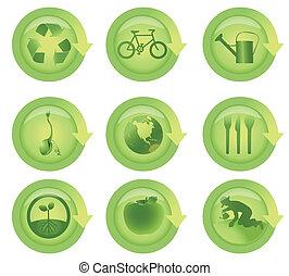 Glossy-Ökologischer Pfeil-Ikone