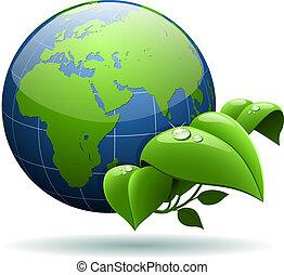Glossy Erdkugel mit grünen Blättern, isoliert auf weißem Hintergrund.
