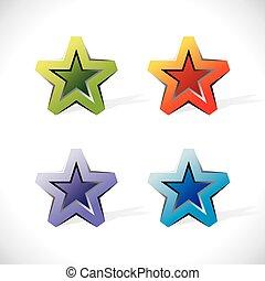 Glossy Icons in Form von Sternen