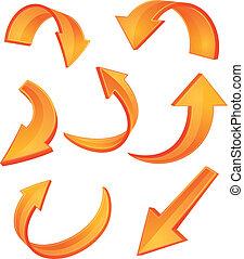 Glossy orangefarbene Pfeil-Ikonen