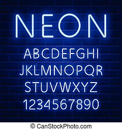 Glowing blue neon character font