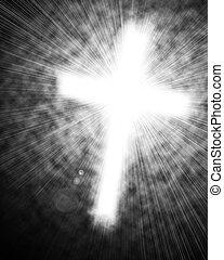 Glowing Cross in sky.