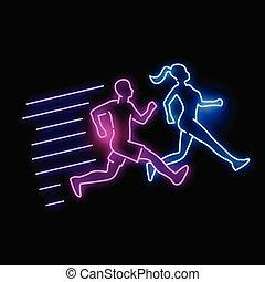Glowing Neon, der aktive Menschen führt