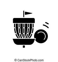 glyph, ikone, golfen, schwarz, frisbee
