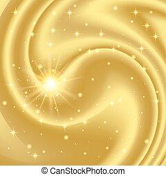 Gold abstrakter Hintergrund mit Sternen und Partikeln. Vector Illustration