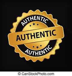 gold, abzeichen, logo, garantie, zeichen, runder , authentisch, etikett, emblem, freigestellt