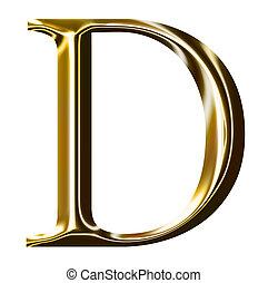 gold, alphabet, d, symbol