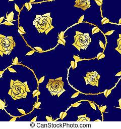 Gold auf blauem, nahrlosem Rosensari-Muster