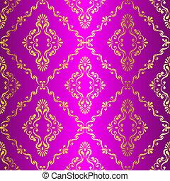 Gold auf pinkem, nahrlosem indisches Muster