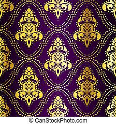 Gold auf purpurfarbenem Indianermuster mit Punkten