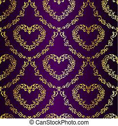Gold auf purpurfarbenem Sarimuster mit Herzen