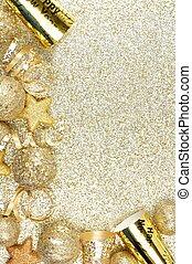 gold, aus, vorabend, jahre, hintergrund, neu , ecke, umrandungen
