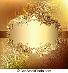 Gold elegant Blumen Hintergrund mit Spitzenmuster, Luxus Grußkarte, eps10.
