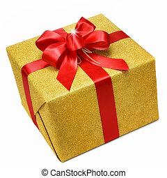 Gold-Geschenkbox mit rotem Bogen.