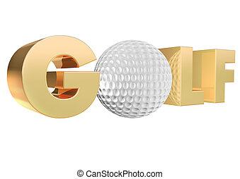 Gold Golf 3D Render.