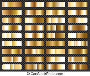 gold, groß, satz, metallisch, gradients, hintergrund, durchsichtig