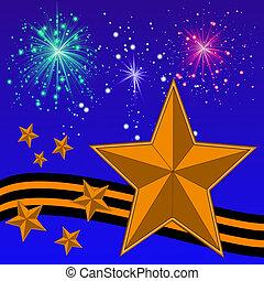 Gold helle Sterne, gelbes Band und Banger