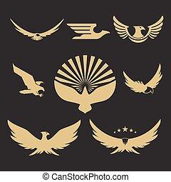 Gold heraldisches Adlerlogodesign