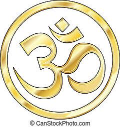Gold Hindu om Vektor