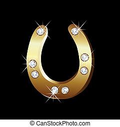 Gold Hufeisen Icon Vektor