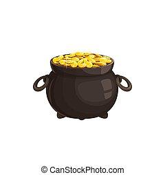 gold, keltisch, schätze, zauberkessel, freigestellt, geldmünzen