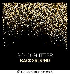 Gold Konfetti glitter auf schwarzem Hintergrund. Abstract Goldstaub glit im Hintergrund. Goldene Explosion von Konfetti. Goldener, körnig abstrakter Hintergrund.