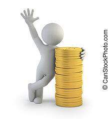 gold, leute, geldmünzen, -, klein, 3d