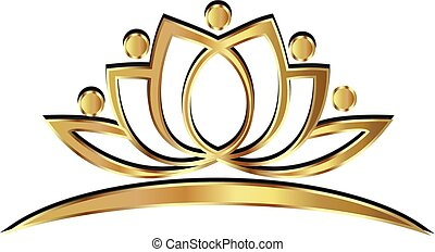 gold, leute, logo, lotos, joga