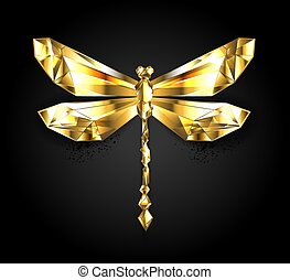 gold, libelle, polygonal