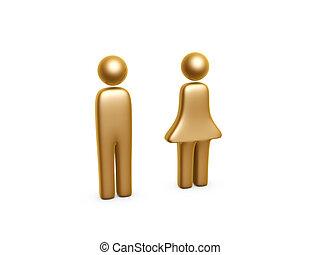 Gold Mann und Frau symbolisieren