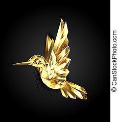 gold, polygonal, kolibri