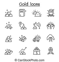 gold, schlanke, stil, linie, ikone, satz