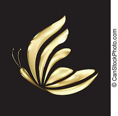Gold Schmetterlingsluxuriöser Logovektor
