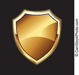 gold, schwarz, schutzschirm, hintergrund