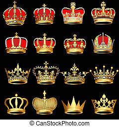 gold, schwarzer hintergrund, kronen, satz