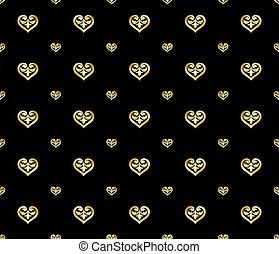 gold, seamless, verzierung, stil, herz, luxus, geformt, muster