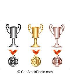 Gold, Silber, Bronzebecher und Medaillen