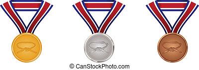 Gold, Silber und Bronze-Medaillen