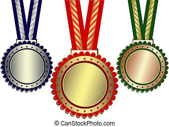 Gold, Silber und Bronze-Preise (vektor)