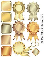 Gold, Silber und Bronzebilder