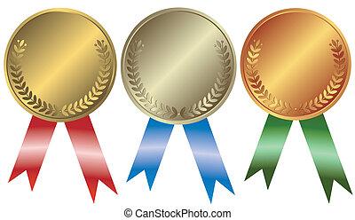 Gold, Silber und Bronzemedaillen